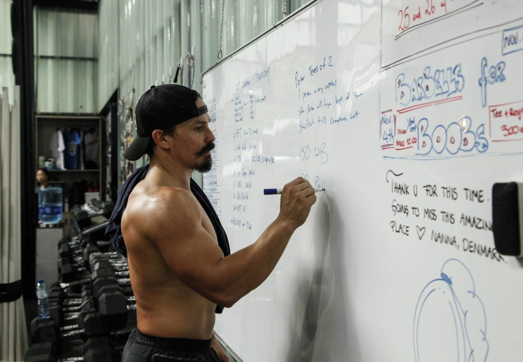 Josh Bridges briefing at the white board